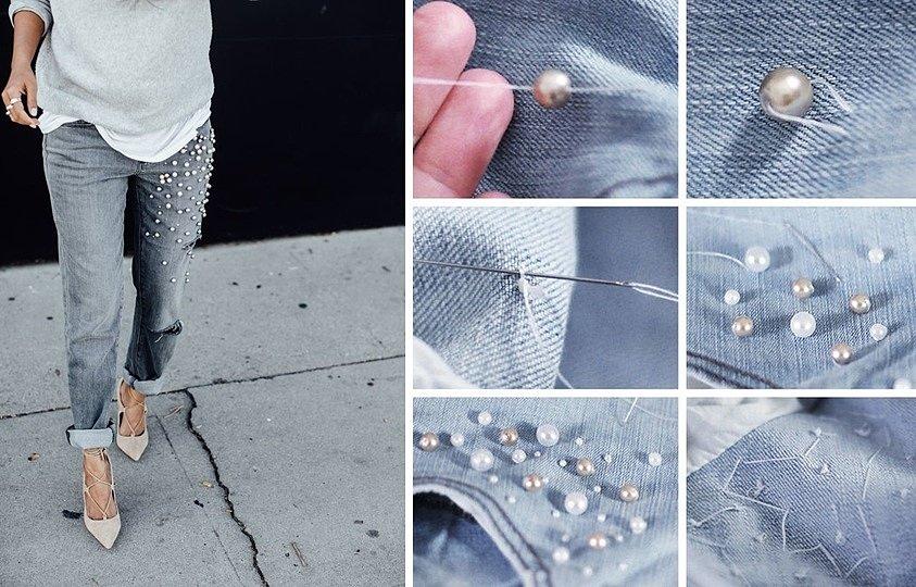 бусины на джинсах